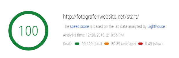 GoDaddy Webhosting Test mit Pagespeed Insights