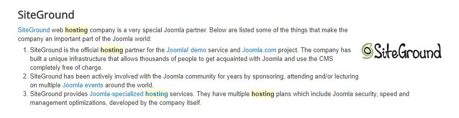 Joomla empfiehlt Siteground